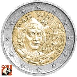 Moneta di San Marino raffigurante Cristoforo Colombo